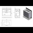 Aqualine  mosdótartó szekrény VEGA, 2 fiókos, platinatölgy (VG863)