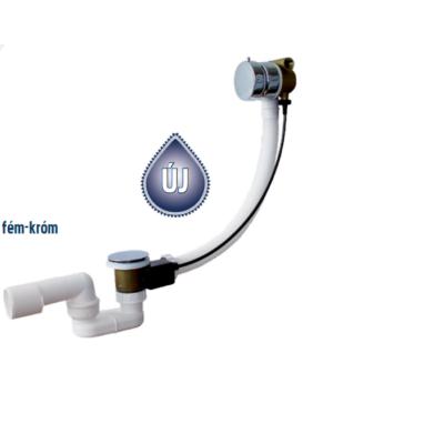 Roltechnik kádszifon, túlfolyós feltöltővel,komplett műanyag beömlővel, fém-króm funkcióváltóval