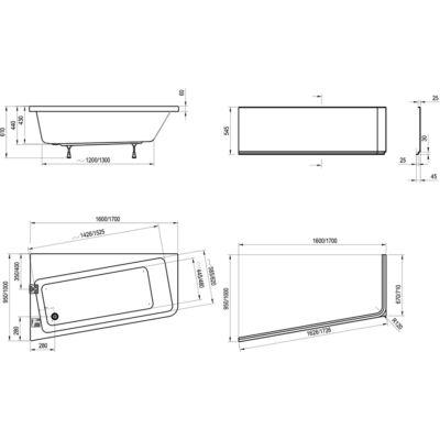 Ravak Előlap 10° Asymmetric 170 x 100 J + panelkit