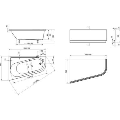 Ravak Előlap Chrome Asymmetric 160 x 105 J + panelkit