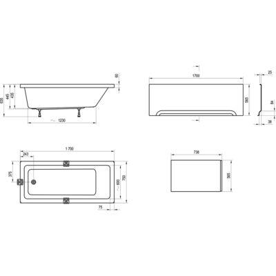 Ravak Előlap  10° (170x75 + panelkit)