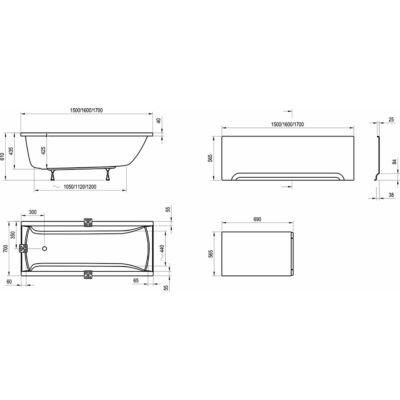 """Ravak akrilkád előlap A """"U"""" 150 fehér + panelkit"""