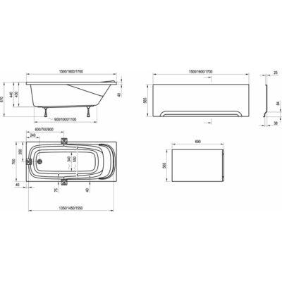 Ravak Előlap Vanda II U (160x70) kádhoz + panelkit
