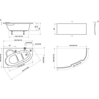 Ravak Előlap Asymmetric (170 x 110 B)