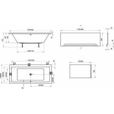 Ravak Előlap Formy 01 (180x80) + panelkit