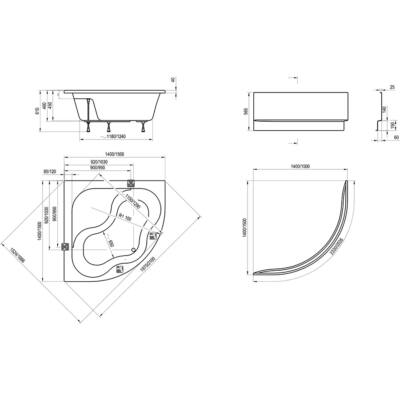 Ravak Akrilkád A előlap GENTIANA NEW DAY 140 cm fehér + panelkit