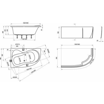 Ravak Előlap ROSA 95 (150 x 95 B )+ panelkit