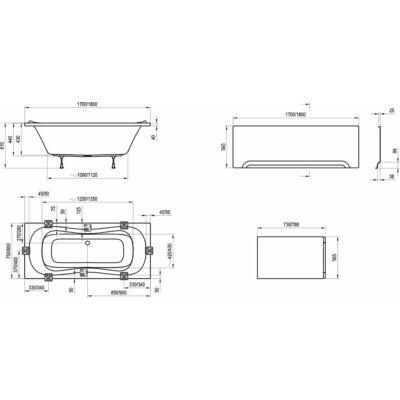 Ravak Előlap Campanula II (170x75) + panelkit