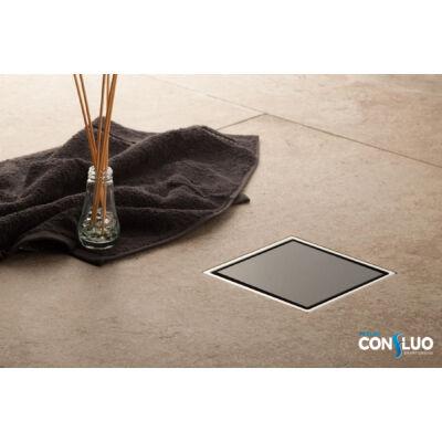VIVA Pestan Confluo Standard Glass zuhanylefolyó fekete üveg 10x10 cm